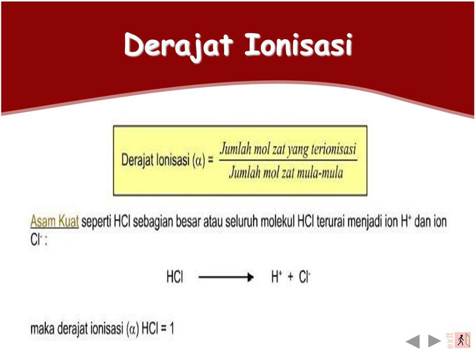 Derajat Ionisasi Banyak atau sedikitnya molekul zat yang terionisasi dinyatakan dalam derajat ionisasi. Derajat ionisasi ( α) merupakan perbandingan b