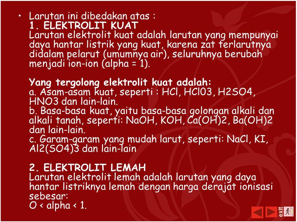 Larutan elektrolit LARUTAN adalah campuran homogen dua zat atau lebih yang saling melarutkan dan masing-masing zat penyusunnya tidak dapat dibedakan l