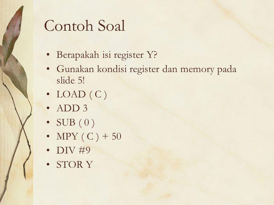 Contoh Soal Berapakah isi register Y? Gunakan kondisi register dan memory pada slide 5! LOAD ( C ) ADD 3 SUB ( 0 ) MPY ( C ) + 50 DIV #9 STOR Y