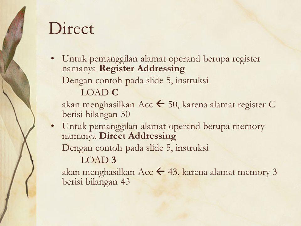 Indirect Untuk pemanggilan alamat operand berupa register namanya Register Indirect Addressing Dengan contoh pada slide 5, instruksi LOAD (D) akan menghasilkan Acc  7, karena alamat register D berisi alamat memory 51, sedangkan alamat memory 51 berisi bilangan 7 Untuk pemanggilan alamat operand berupa memory namanya Indirect Addressing Dengan contoh pada slide 5, instruksi LOAD (50) akan menghasilkan Acc  43, karena alamat memory 50 berisi alamat memory 3, sedangkan alamat memory 3 berisi bilangan 43