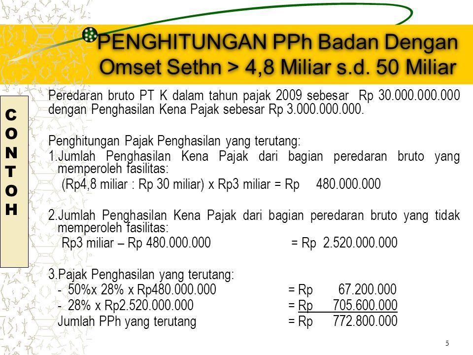 PENGHITUNGAN PPh Badan Dengan Omset Sethn > 4,8 Miliar s.d.