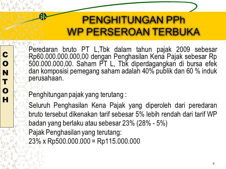 PENGHITUNGAN PPh WP PERSEROAN TERBUKA Peredaran bruto PT L,Tbk dalam tahun pajak 2009 sebesar Rp60.000.000.000,00 dengan Penghasilan Kena Pajak sebesar Rp 500.000.000,00.