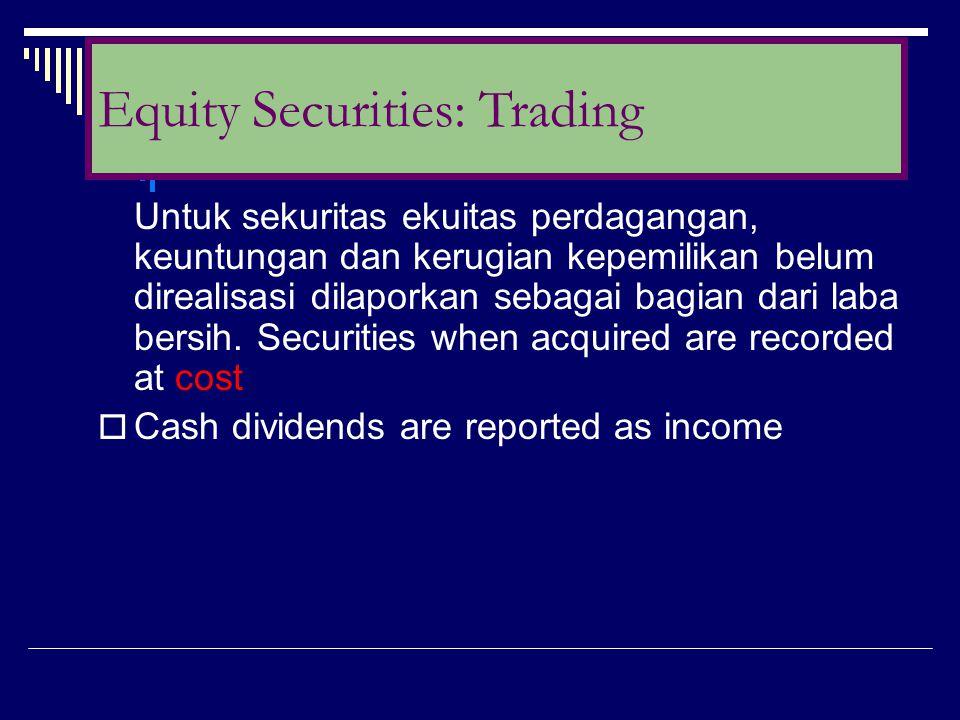 Untuk sekuritas ekuitas perdagangan, keuntungan dan kerugian kepemilikan belum direalisasi dilaporkan sebagai bagian dari laba bersih. Securities when