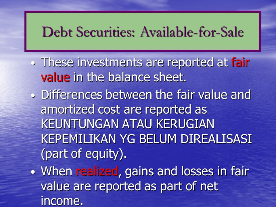 Must report amounts for each category of investments: 1.