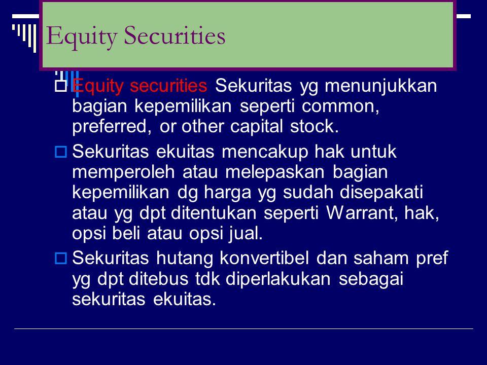  Equity securities Sekuritas yg menunjukkan bagian kepemilikan seperti common, preferred, or other capital stock.  Sekuritas ekuitas mencakup hak un