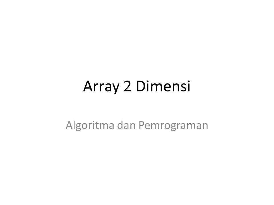 Inisialisasi Array 2 Dimensi Array 1 Dimensi : int data[3] = {30, 40, 50}; Array 2 Dimensi : int data[2][3] = { {10,20,30}, {40,50,60} }; 304050 102030 405060