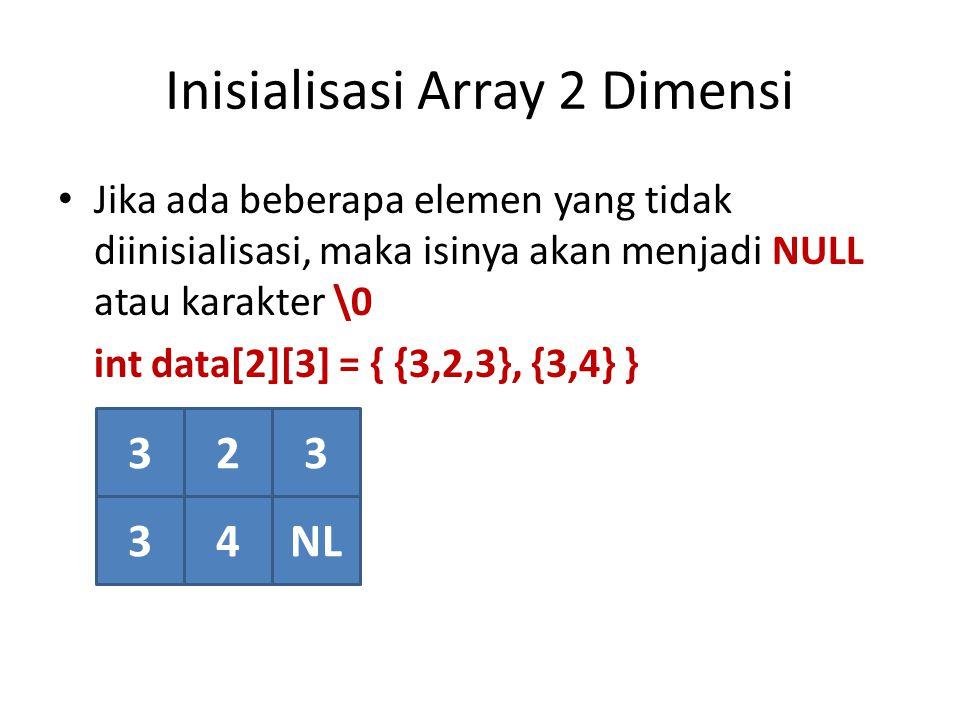 Inisialisasi Array 2 Dimensi Jika ada beberapa elemen yang tidak diinisialisasi, maka isinya akan menjadi NULL atau karakter \0 int data[2][3] = { {3,2,3}, {3,4} } 323 34NL