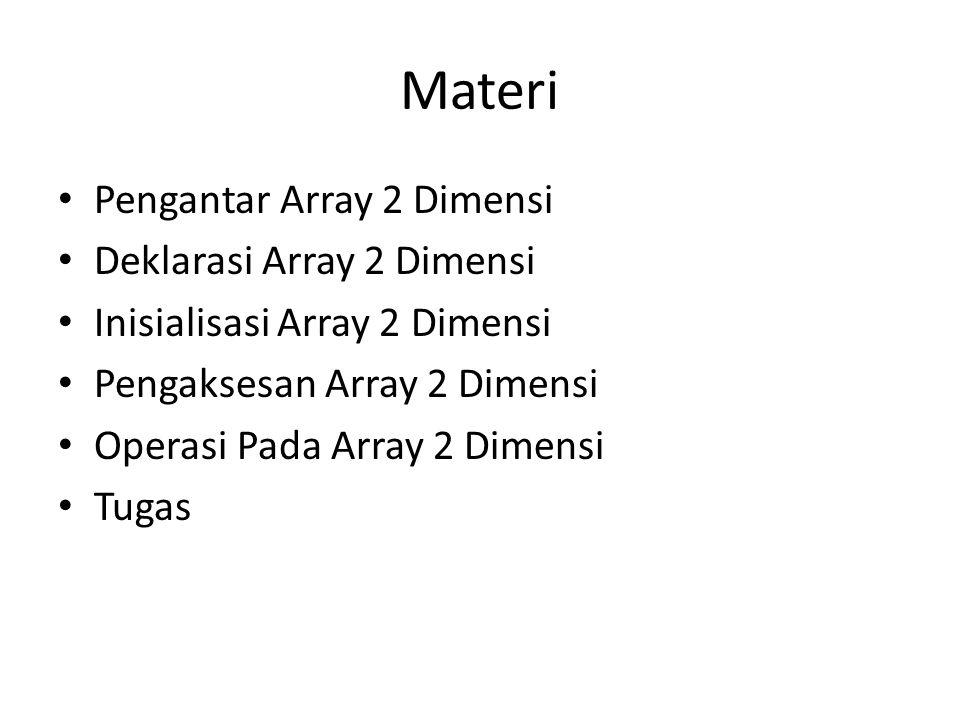 Pengaksesan Array 2 Dimensi #include void main() { int data[2][3] = {{10, 20, 30}, {40, 50, 60}}; for(int b=0; b<2; b++) { for(int k=0; k<3; k++) { printf( %d , data[b][k]); } printf( \n ); } } Baris per baris