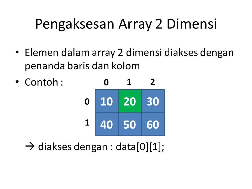 Pengaksesan Array 2 Dimensi Elemen dalam array 2 dimensi diakses dengan penanda baris dan kolom Contoh :  diakses dengan : data[0][1]; 102030 405060 21 0 0 1