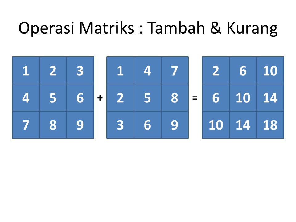 Operasi Matriks : Tambah & Kurang 123 456 789 147 258 369 2610 6 14 101418 +=