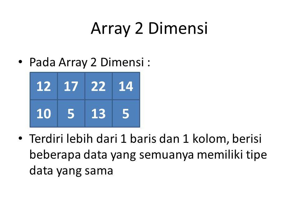 Array 2 Dimensi Terdiri dari baris dan kolom 12172214 105135 21 0 3 0 1 Kolom, 4 Baris, 2 Dimensi Array dinyatakan dalam Baris x Kolom Array 2 x 4