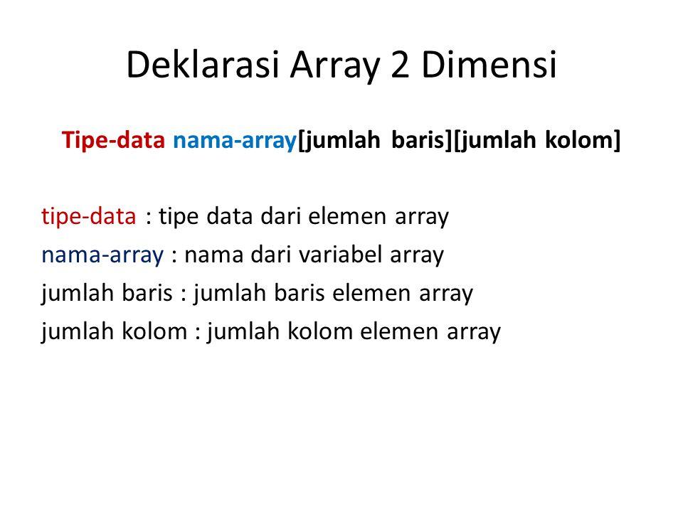 Inisialisasi Array 2 Dimensi Benar atau salah inisialisasi berikut : – int data[2][3] = { {10, 20, 30}}; – int data[2][3] = { {10, 20, 30}, { } }; – int data[2][3] = { {10, 20.