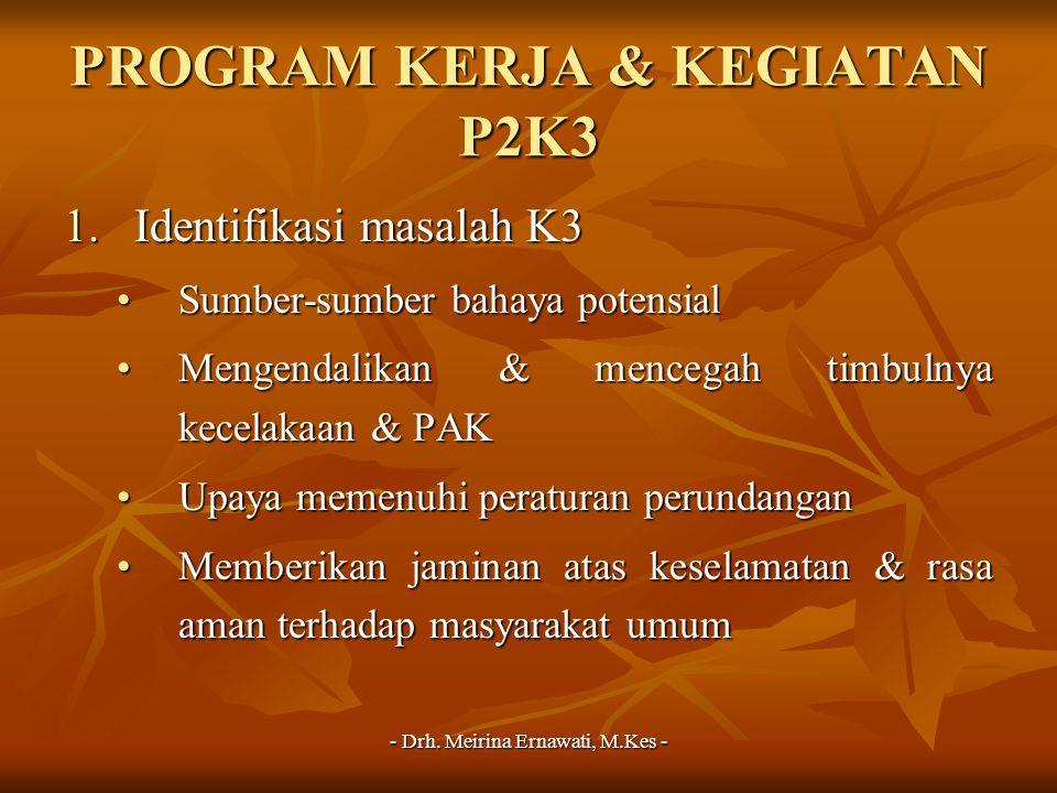 - Drh. Meirina Ernawati, M.Kes - PROGRAM KERJA & KEGIATAN P2K3 1.Identifikasi masalah K3 Sumber-sumber bahaya potensialSumber-sumber bahaya potensial
