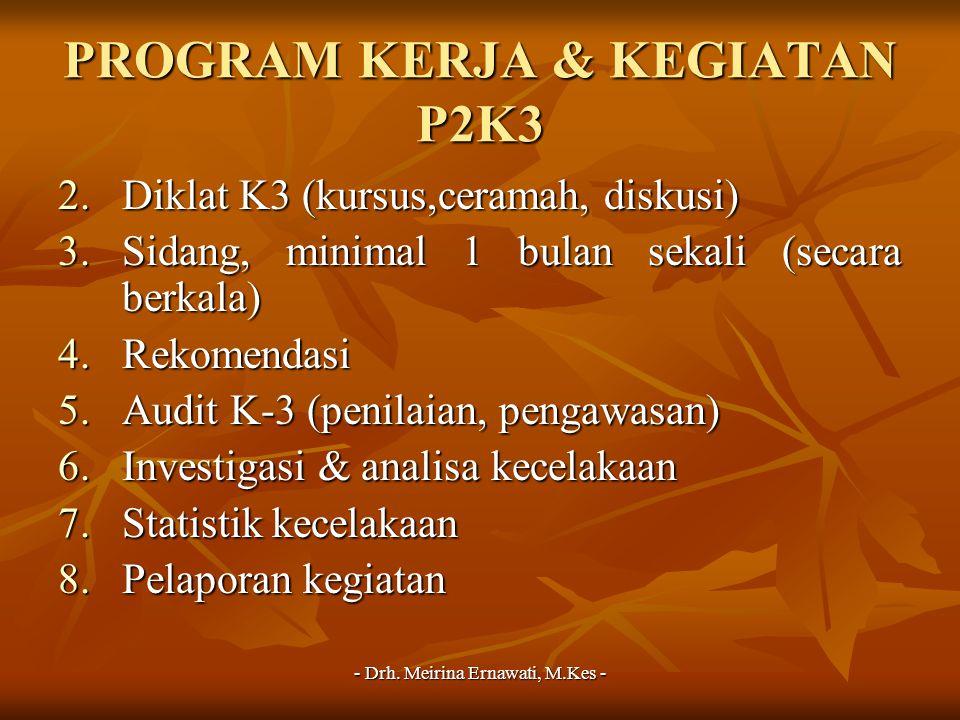- Drh. Meirina Ernawati, M.Kes - PROGRAM KERJA & KEGIATAN P2K3 2.Diklat K3 (kursus,ceramah, diskusi) 3.Sidang, minimal 1 bulan sekali (secara berkala)