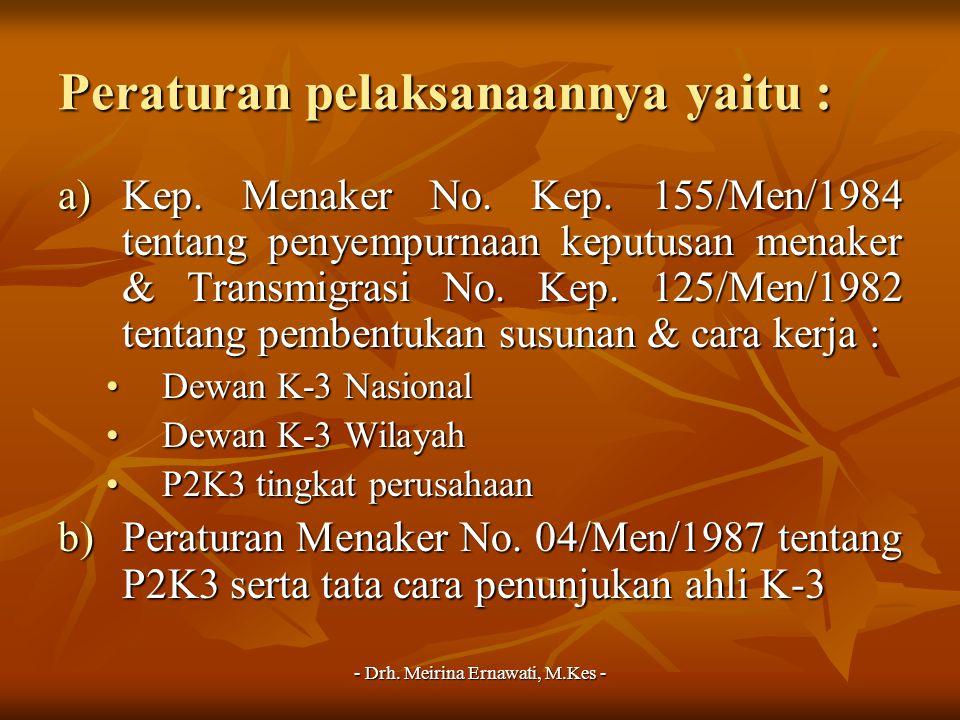 - Drh. Meirina Ernawati, M.Kes - Peraturan pelaksanaannya yaitu : a)Kep. Menaker No. Kep. 155/Men/1984 tentang penyempurnaan keputusan menaker & Trans