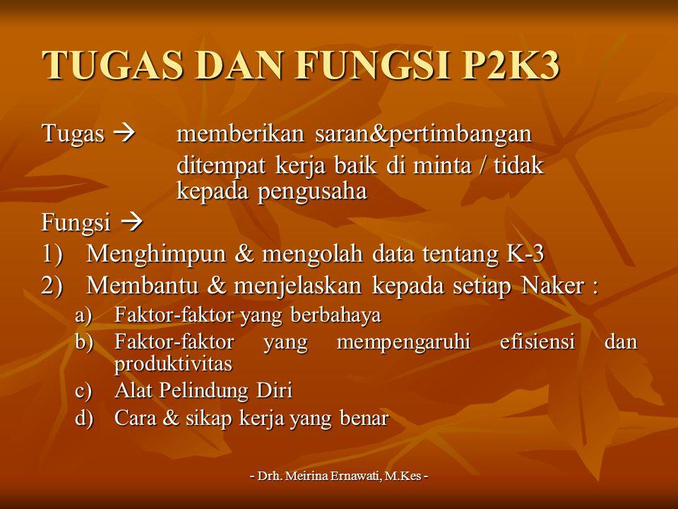 - Drh. Meirina Ernawati, M.Kes - TUGAS DAN FUNGSI P2K3 Tugas  memberikan saran&pertimbangan ditempat kerja baik di minta / tidak kepada pengusaha Fun