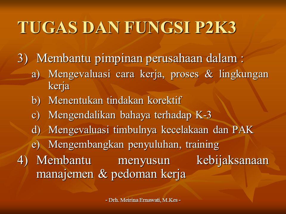 - Drh. Meirina Ernawati, M.Kes - TUGAS DAN FUNGSI P2K3 3)Membantu pimpinan perusahaan dalam : a)Mengevaluasi cara kerja, proses & lingkungan kerja b)M