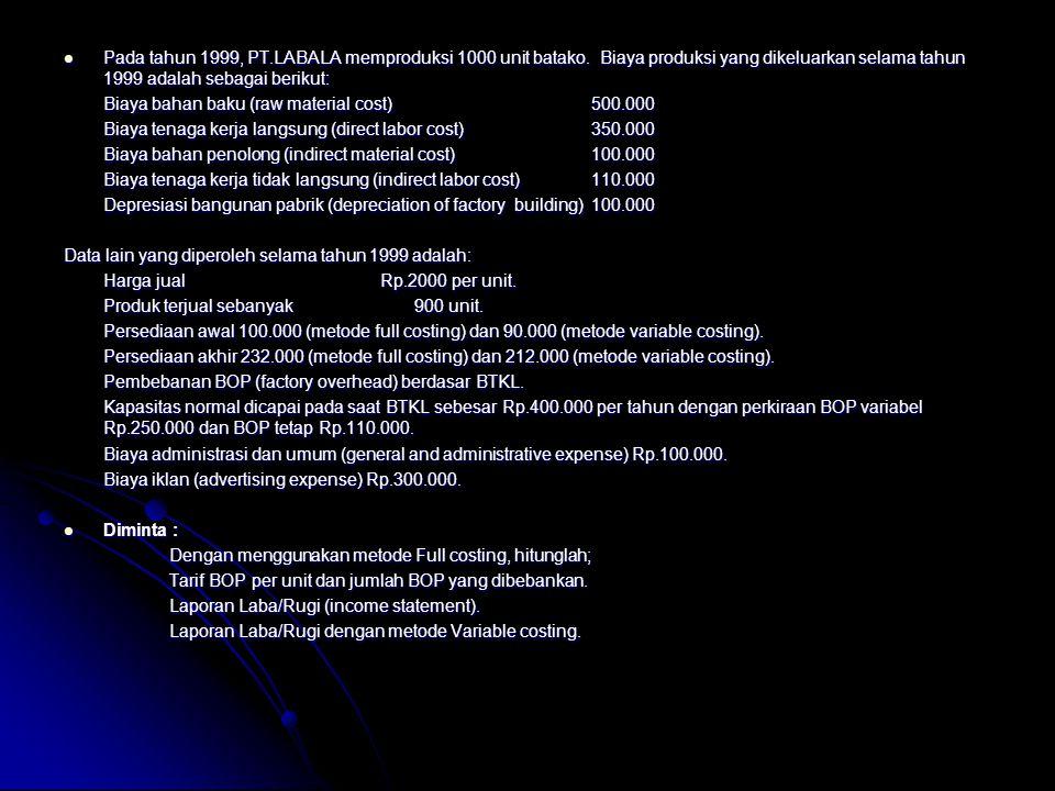 Pada tahun 1999, PT.LABALA memproduksi 1000 unit batako. Biaya produksi yang dikeluarkan selama tahun 1999 adalah sebagai berikut: Pada tahun 1999, PT