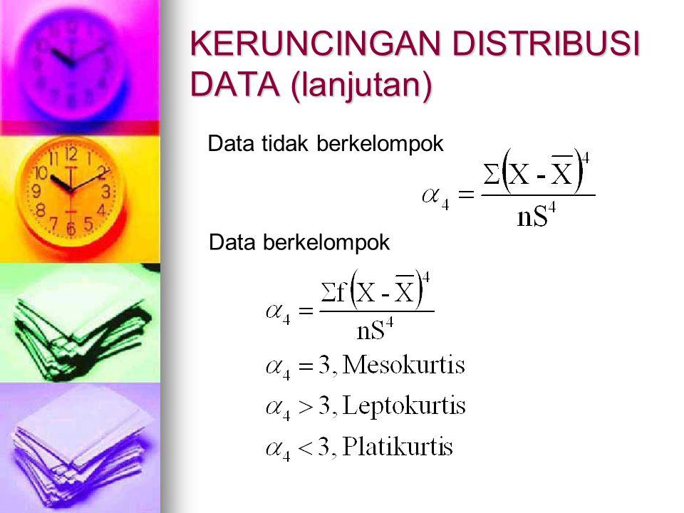 KERUNCINGAN DISTRIBUSI DATA (lanjutan) Data tidak berkelompok Data berkelompok