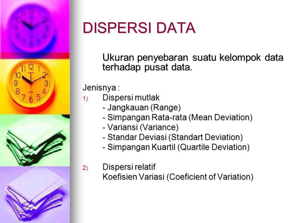 DISPERSI DATA Ukuran penyebaran suatu kelompok data terhadap pusat data. Jenisnya : 1) D ispersi mutlak - Jangkauan (Range) - Simpangan Rata-rata (Mea