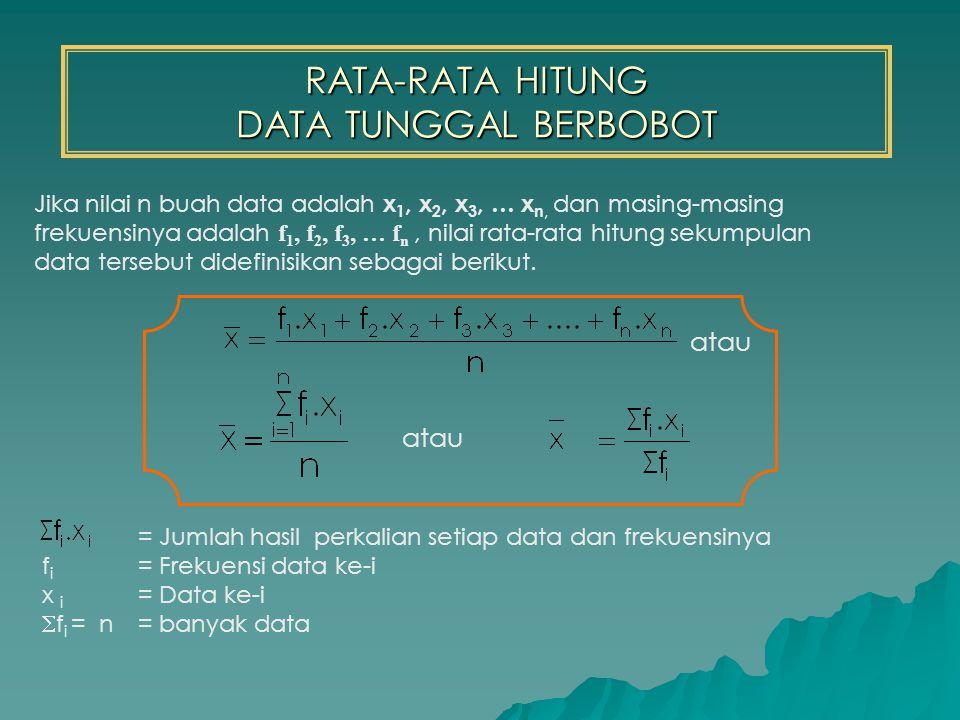RATA-RATA HITUNG DATA TUNGGAL BERBOBOT = Jumlah hasil perkalian setiap data dan frekuensinya f i = Frekuensi data ke-i x i = Data ke-i  f i = n = banyak data Jika nilai n buah data adalah x 1, x 2, x 3, … x n, dan masing-masing frekuensinya adalah f 1, f 2, f 3, … f n, nilai rata-rata hitung sekumpulan data tersebut didefinisikan sebagai berikut.