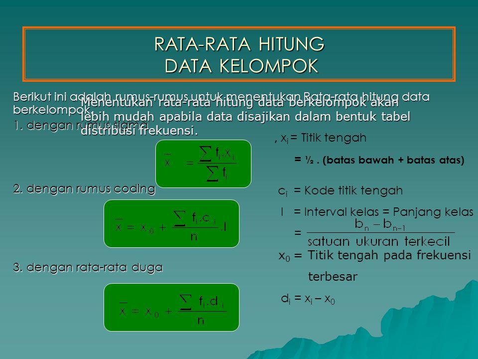 RATA-RATA HITUNG DATA KELOMPOK Berikut ini adalah rumus-rumus untuk menentukan Rata-rata hitung data berkelompok.