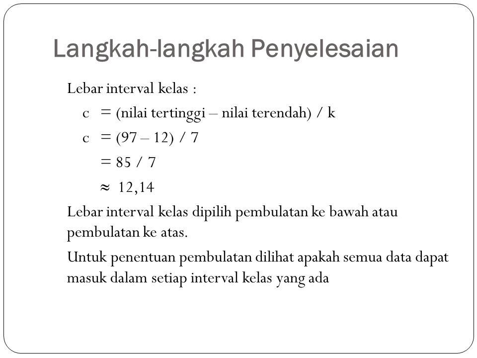 Langkah-langkah Penyelesaian Lebar interval kelas : c = (nilai tertinggi – nilai terendah) / k c = (97 – 12) / 7 = 85 / 7  12,14 Lebar interval kelas