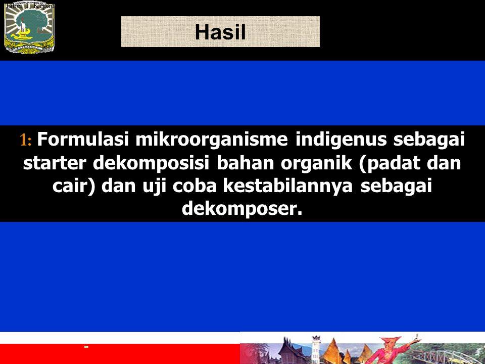Hasil 1: 1: Formulasi mikroorganisme indigenus sebagai starter dekomposisi bahan organik (padat dan cair) dan uji coba kestabilannya sebagai dekomposer.