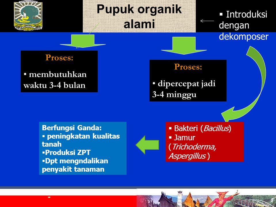 Pupuk organik alamiProses: membutuhkan waktu 3-4 bulan  Introduksi dengan dekomposer Proses: dipercepat jadi 3-4 minggu  Bakteri (Bacillus)  Jamur (Trichoderma, Aspergillus ) Berfungsi Ganda:  peningkatan kualitas tanah  Produksi ZPT  Dpt mengndalikan penyakit tanaman