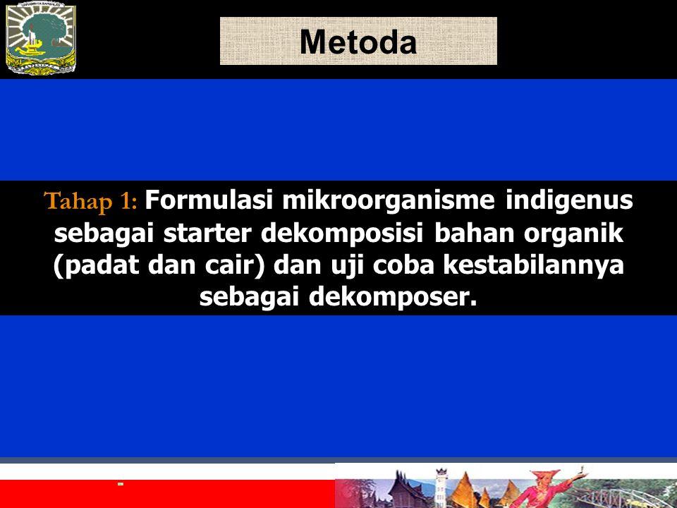 Metoda Tahap 1: Tahap 1: Formulasi mikroorganisme indigenus sebagai starter dekomposisi bahan organik (padat dan cair) dan uji coba kestabilannya sebagai dekomposer.