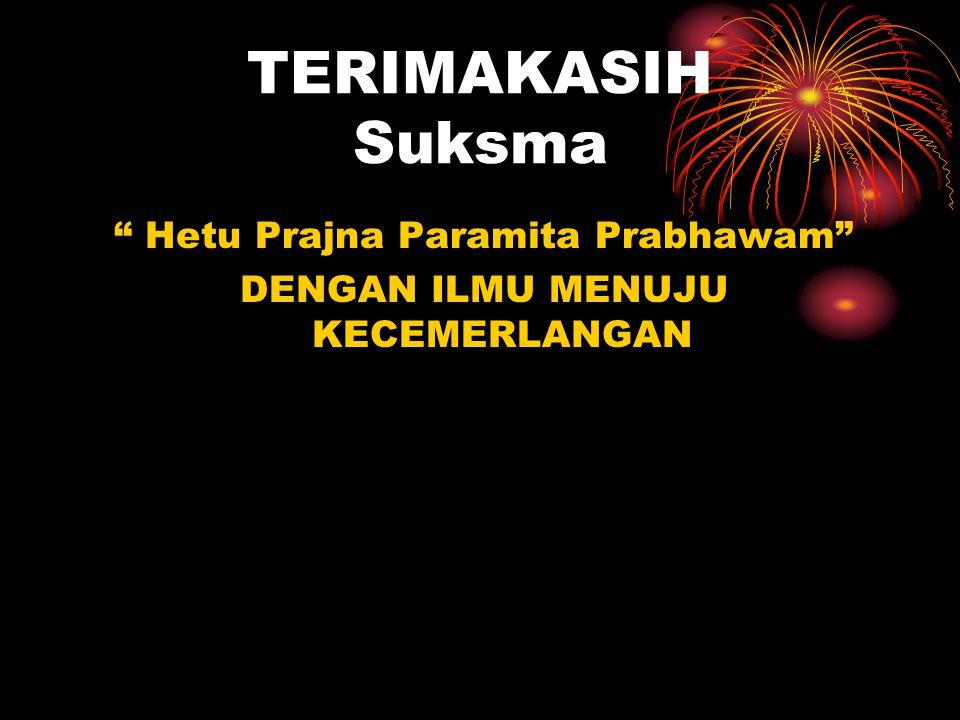 TERIMAKASIH Suksma Hetu Prajna Paramita Prabhawam DENGAN ILMU MENUJU KECEMERLANGAN
