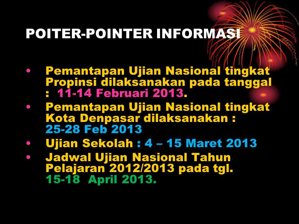 POITER-POINTER INFORMASI Pemantapan Ujian Nasional tingkat Propinsi dilaksanakan pada tanggal : 11-14 Februari 2013.