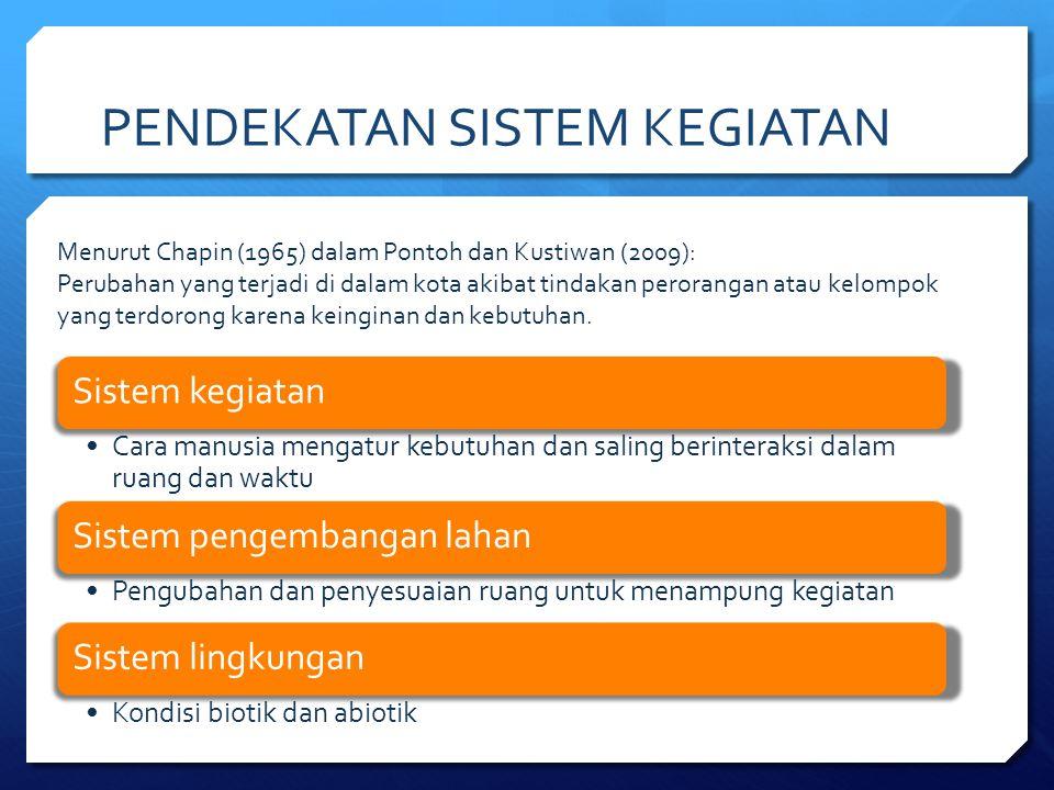 PENDEKATAN SISTEM KEGIATAN Menurut Chapin (1965) dalam Pontoh dan Kustiwan (2009): Perubahan yang terjadi di dalam kota akibat tindakan perorangan ata