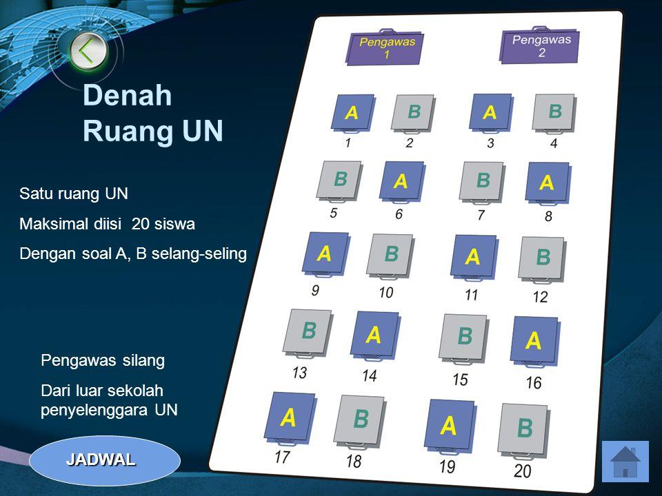 Denah Ruang UN Satu ruang UN Maksimal diisi 20 siswa Dengan soal A, B selang-seling Pengawas silang Dari luar sekolah penyelenggara UN JADWAL