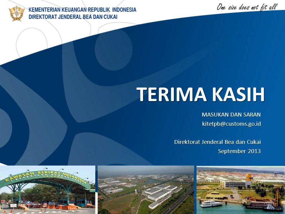 One size does not fit all TERIMA KASIH MASUKAN DAN SARAN kitetpb@customs.go.id Direktorat Jenderal Bea dan Cukai September 2013 1/15/201516