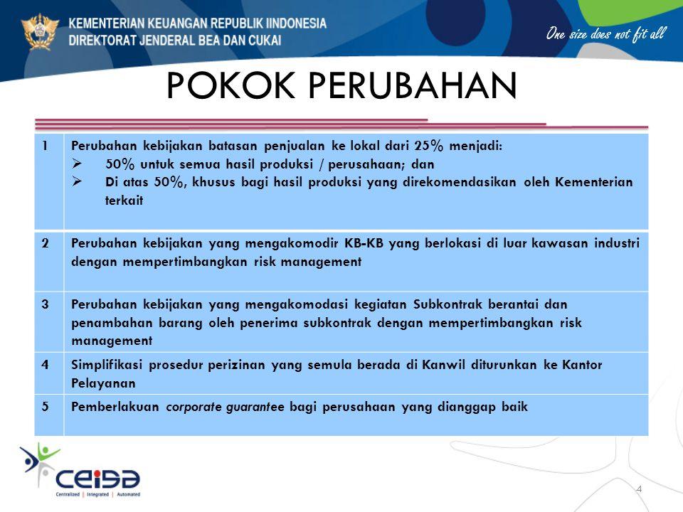 One size does not fit all POKOK PERUBAHAN 1Perubahan kebijakan batasan penjualan ke lokal dari 25% menjadi:  50% untuk semua hasil produksi / perusah