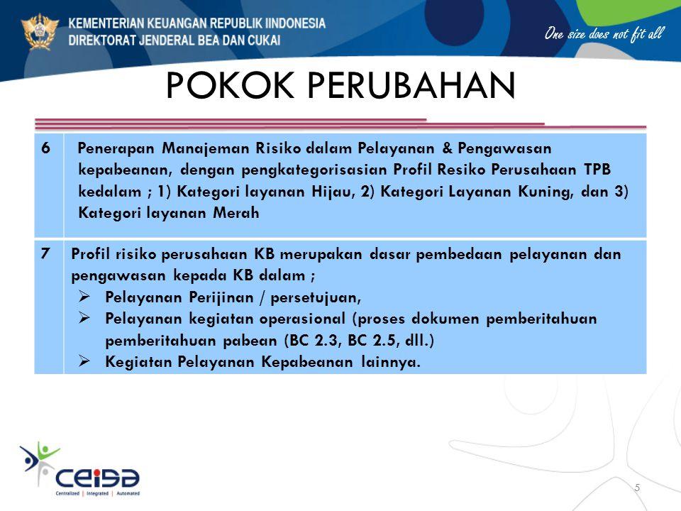 One size does not fit all POKOK PERUBAHAN 6Penerapan Manajeman Risiko dalam Pelayanan & Pengawasan kepabeanan, dengan pengkategorisasian Profil Resiko