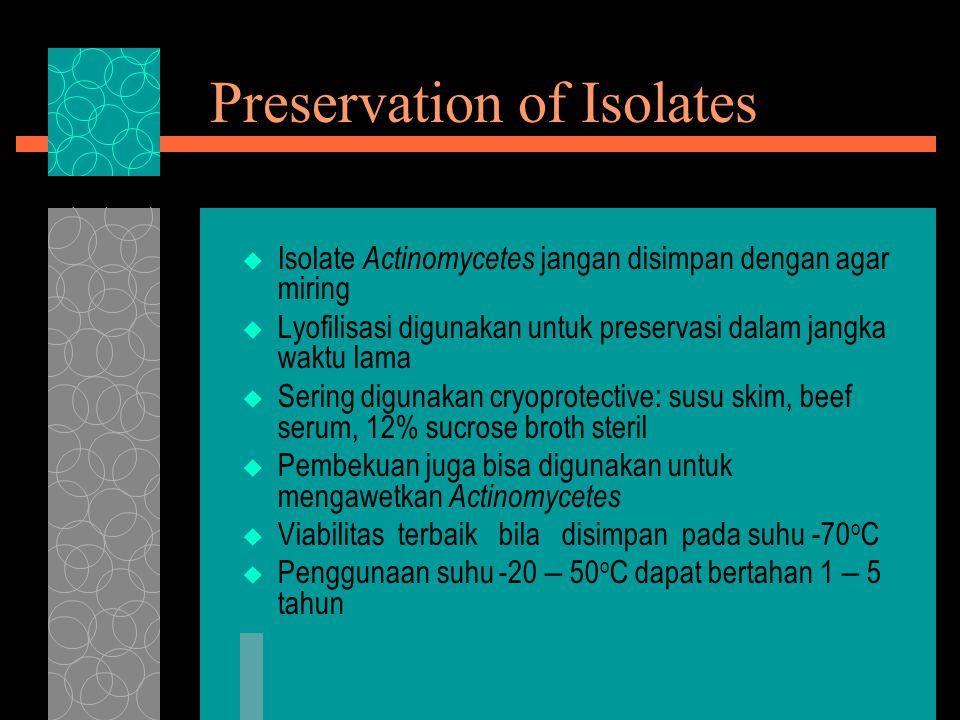 Preservation of Isolates  Isolate Actinomycetes jangan disimpan dengan agar miring  Lyofilisasi digunakan untuk preservasi dalam jangka waktu lama  Sering digunakan cryoprotective: susu skim, beef serum, 12% sucrose broth steril  Pembekuan juga bisa digunakan untuk mengawetkan Actinomycetes  Viabilitas terbaik bila disimpan pada suhu -70 o C  Penggunaan suhu -20 – 50 o C dapat bertahan 1 – 5 tahun