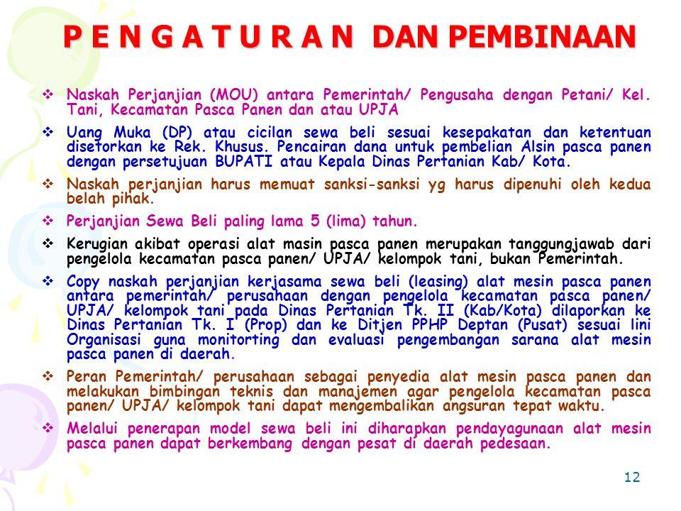 12 P E N G A T U R A N DAN PEMBINAAN  Naskah Perjanjian (MOU) antara Pemerintah/ Pengusaha dengan Petani/ Kel.