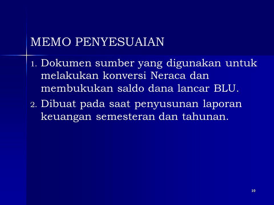10 MEMO PENYESUAIAN 1. 1. Dokumen sumber yang digunakan untuk melakukan konversi Neraca dan membukukan saldo dana lancar BLU. 2. 2. Dibuat pada saat p