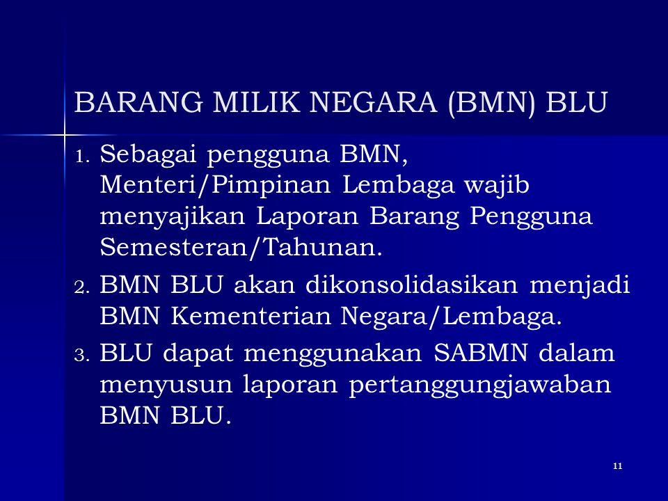 11 BARANG MILIK NEGARA (BMN) BLU 1. 1. Sebagai pengguna BMN, Menteri/Pimpinan Lembaga wajib menyajikan Laporan Barang Pengguna Semesteran/Tahunan. 2.