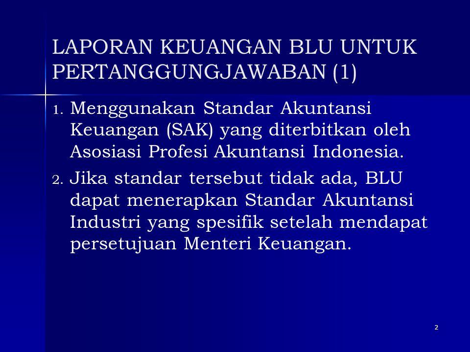 2 LAPORAN KEUANGAN BLU UNTUK PERTANGGUNGJAWABAN (1) 1. 1. Menggunakan Standar Akuntansi Keuangan (SAK) yang diterbitkan oleh Asosiasi Profesi Akuntans