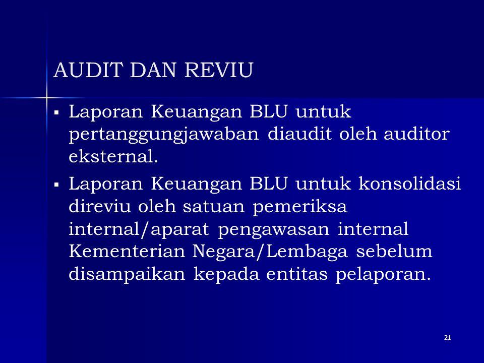 21 AUDIT DAN REVIU   Laporan Keuangan BLU untuk pertanggungjawaban diaudit oleh auditor eksternal.   Laporan Keuangan BLU untuk konsolidasi direvi