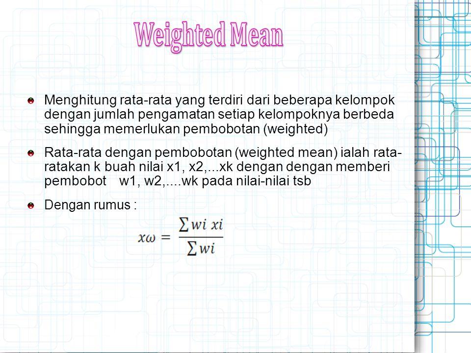 Menghitung rata-rata yang terdiri dari beberapa kelompok dengan jumlah pengamatan setiap kelompoknya berbeda sehingga memerlukan pembobotan (weighted)