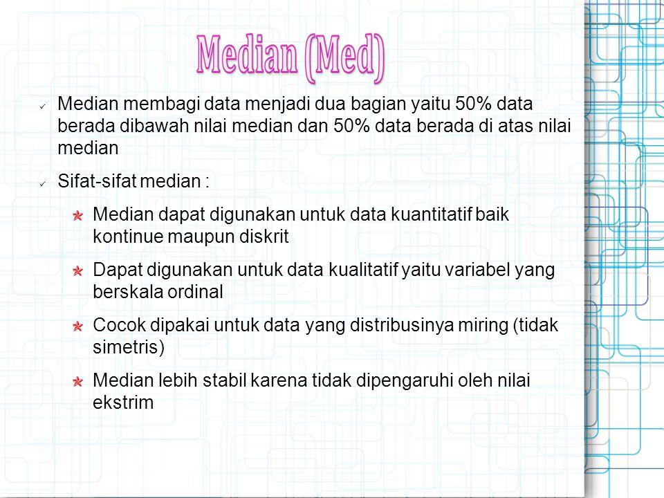 Median membagi data menjadi dua bagian yaitu 50% data berada dibawah nilai median dan 50% data berada di atas nilai median Sifat-sifat median : Median