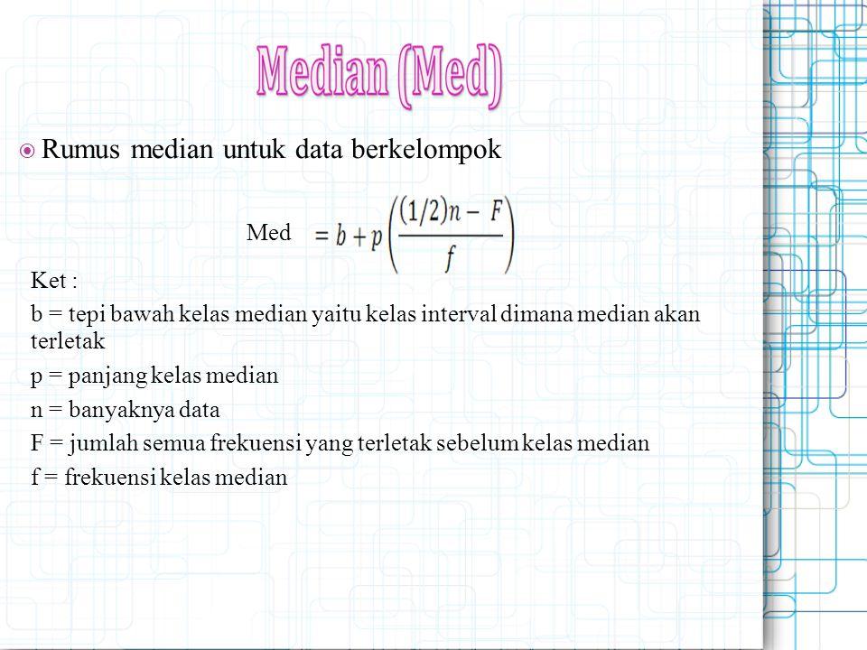  Rumus median untuk data berkelompok Med Ket : b = tepi bawah kelas median yaitu kelas interval dimana median akan terletak p = panjang kelas median
