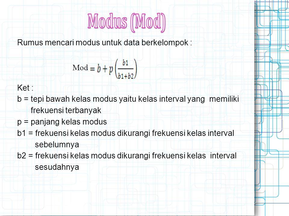 Rumus mencari modus untuk data berkelompok : Ket : b = tepi bawah kelas modus yaitu kelas interval yang memiliki frekuensi terbanyak p = panjang kelas