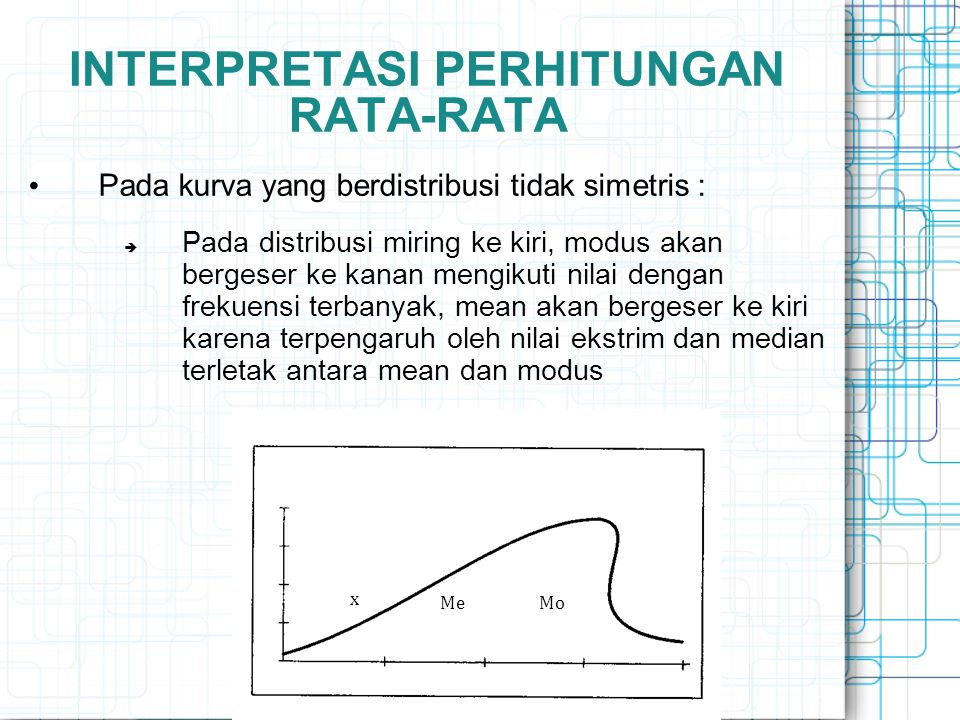 INTERPRETASI PERHITUNGAN RATA-RATA Pada kurva yang berdistribusi tidak simetris :  Pada distribusi miring ke kiri, modus akan bergeser ke kanan mengi