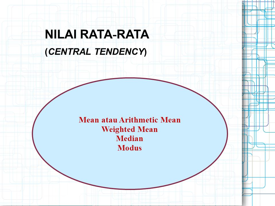 Mean atau Arithmetic Mean Weighted Mean Median Modus NILAI RATA - RATA (CENTRAL TENDENCY)