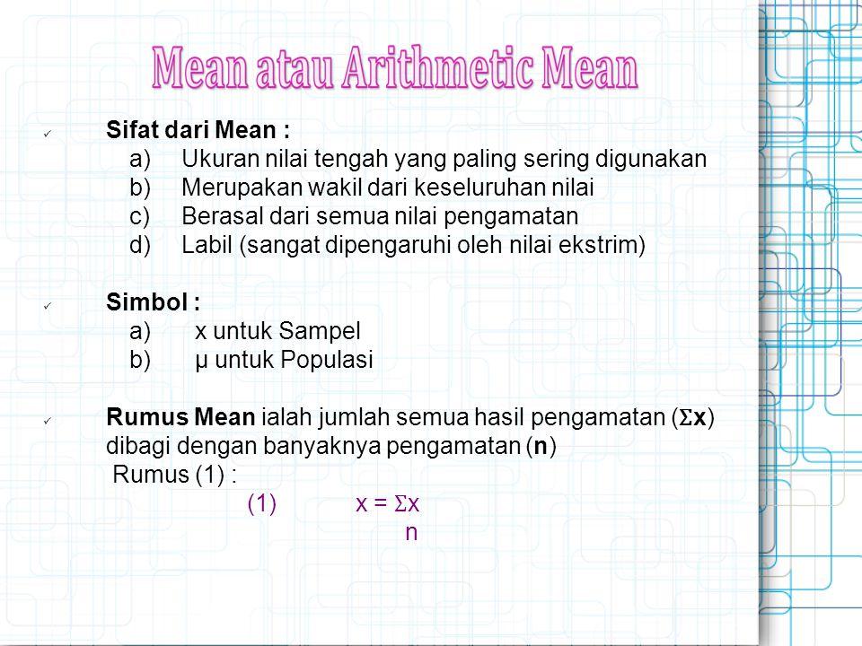 Sifat dari Mean : a) Ukuran nilai tengah yang paling sering digunakan b) Merupakan wakil dari keseluruhan nilai c) Berasal dari semua nilai pengamatan